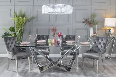 Urban Deco Jazz 200cm Glass and Chrome Dining Table and 6 Grey Knockerback Chrome Leg Chairs