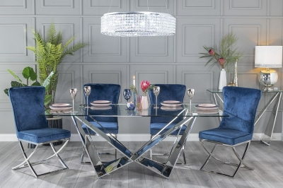 Urban Deco Jazz 200cm Glass and Chrome Dining Table and 6 Lyon Blue Chairs