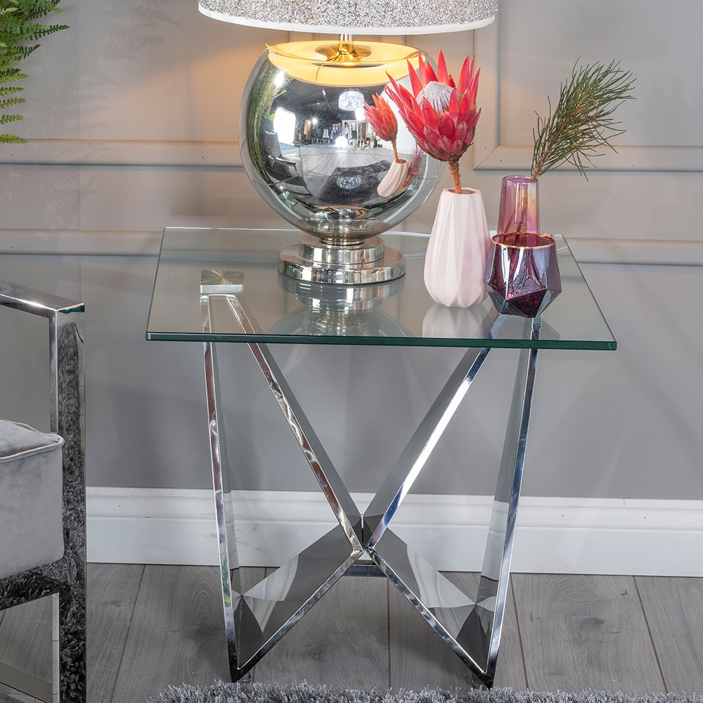 Urban Deco Jazz Side Table - Glass and Stainless Steel