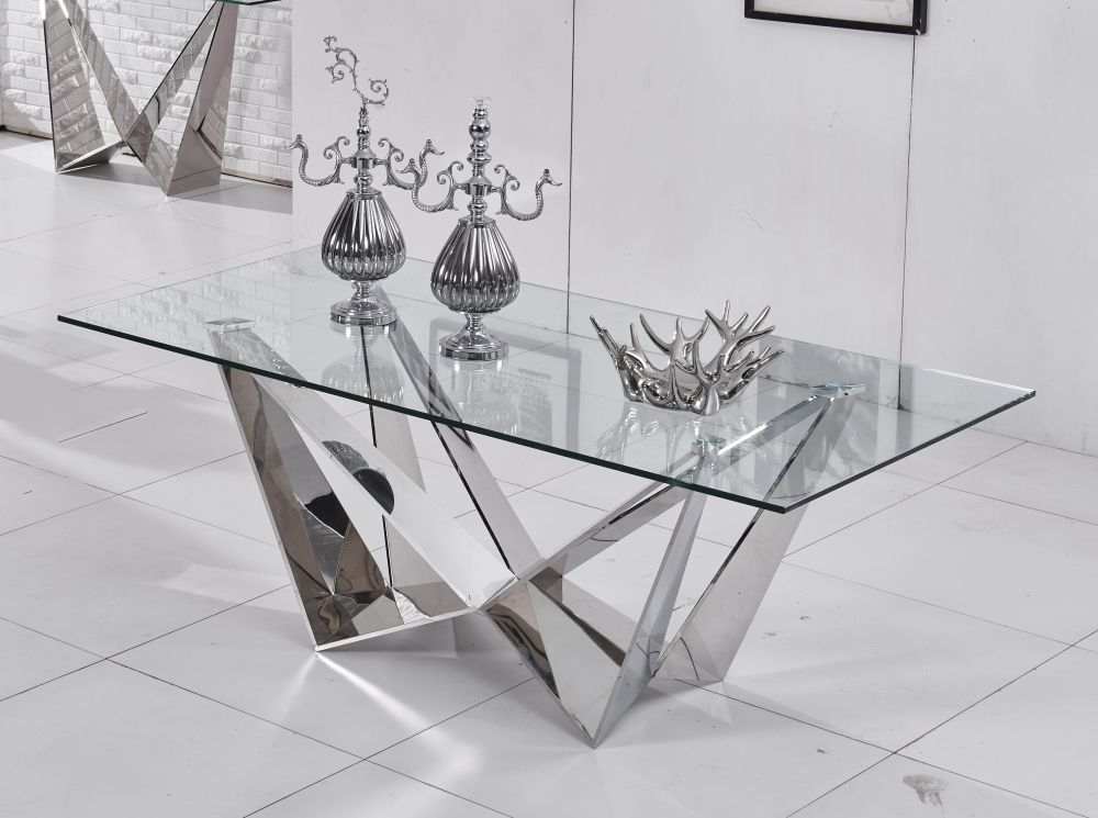 Urban Deco Jazz Coffee Table - Glass and Stainless Steel