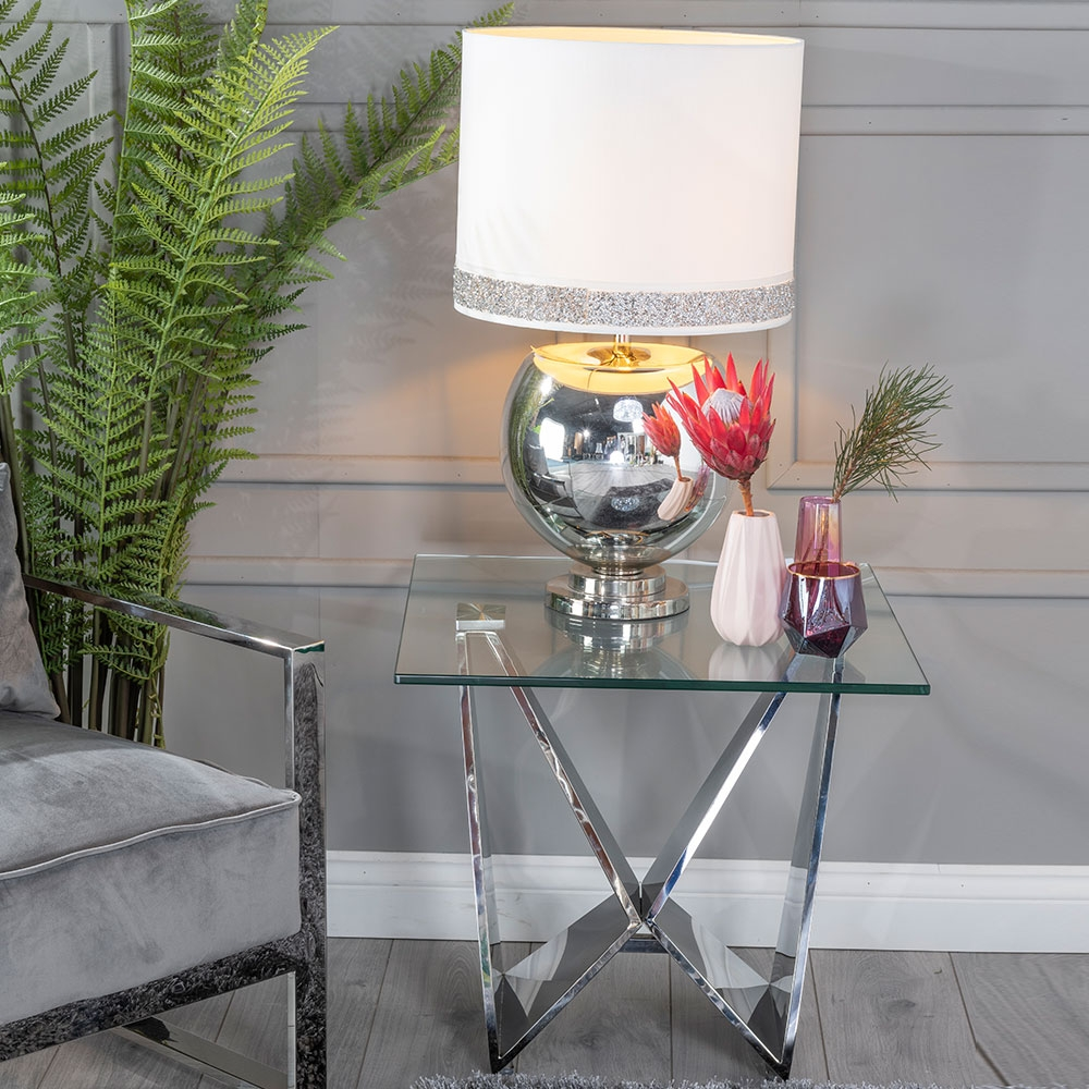 Urban Deco Jazz Side Table - Glass and Stainless Steel Chrome