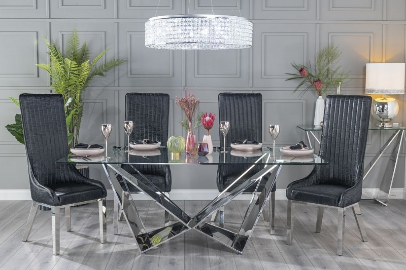 Urban Deco Jazz Dining Table with Allure Black Faux Leather Chairs - Glass and Stainless Steel Chrome