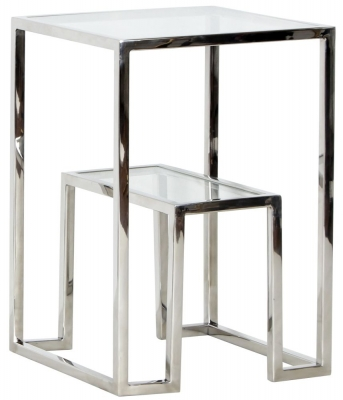 Knightsbridge Square Stainless Steel Chrome and Glass Side Table