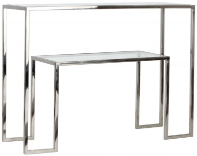 Knightsbridge Stainless Steel Chrome and Glass Console Table
