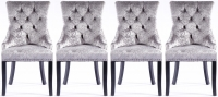 4 x Silver Velvet Knockerback Dining Chair