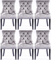 6 x Silver Velvet Knockerback Dining Chair