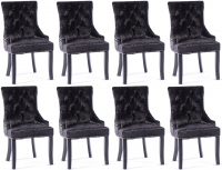 8 x Black Velvet Knockerback Dining Chair