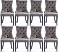 8 x Grey Velvet Knockerback Dining Chair