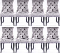 8 x Silver Velvet Knockerback Dining Chair