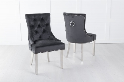 Black Velvet Knockerback Ring Dining Chair with Chrome Legs