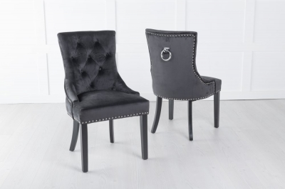 Black Velvet Knockerback Ring Dining Chair