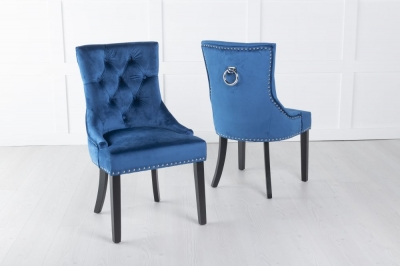 Blue Velvet Knockerback Ring Dining Chair