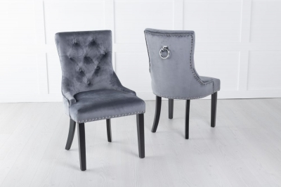 Grey Velvet Knockerback Ring Dining Chair