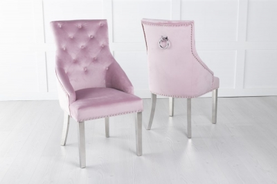 Large Pink Velvet Knockerback Ring Dining Chair with Chrome Legs