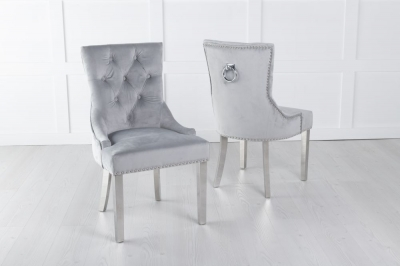 Light Grey Velvet Knockerback Ring Dining Chair with Chrome Legs