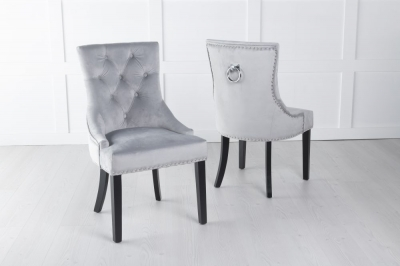 Light Grey Velvet Knockerback Ring Dining Chair
