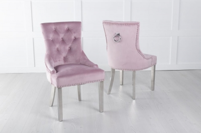 Pink Velvet Knockerback Ring Dining Chair with Chrome Legs