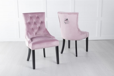 Pink Velvet Knockerback Ring Dining Chair
