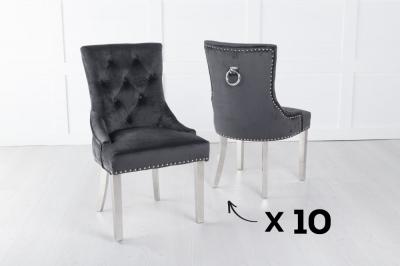 Set of 10 Black Velvet Knockerback Ring Dining Chair with Chrome Legs