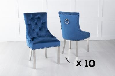 Set of 10 Blue Velvet Dining Chair With Knocker / Chrome Legs - Scoop Back