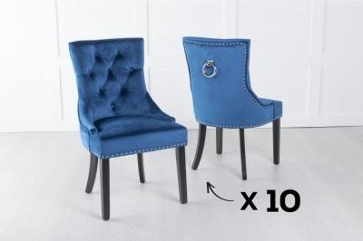 Set of 10 Blue Velvet Dining Chair With Knocker / Black Legs - Scoop Back