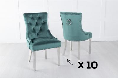 Set of 10 Green Velvet Knockerback Ring Dining Chair with Chrome Legs