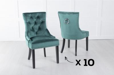 Set of 10 Green Velvet Knockerback Ring Dining Chair