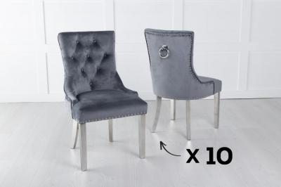 Set of 10 Grey Velvet Knockerback Ring Dining Chair with Chrome Legs