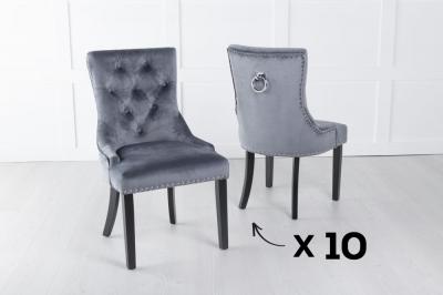 Set of 10 Grey Velvet Knockerback Ring Dining Chair