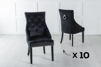 Set of 10 Large Black Velvet Knockerback Ring Dining Chair