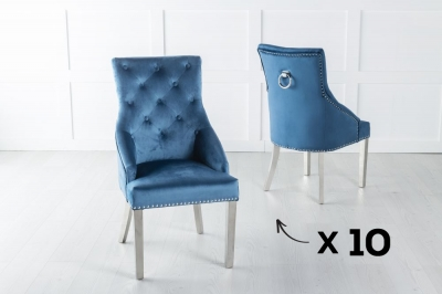 Set of 10 Large Blue Velvet Knockerback Ring Dining Chair with Chrome Legs