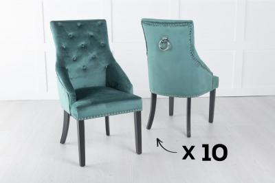 Set of 10 Large Green Velvet Knockerback Ring Dining Chair
