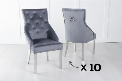 Set of 10 Large Scoop Back Dining Chair With Knocker / Chrome Legs - Grey Velvet