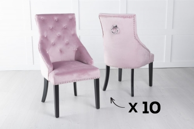 Set of 10 Large Pink Velvet Knockerback Ring Dining Chair