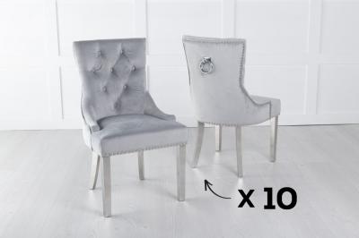 Set of 10 Light Grey Velvet Knockerback Ring Dining Chair with Chrome Legs