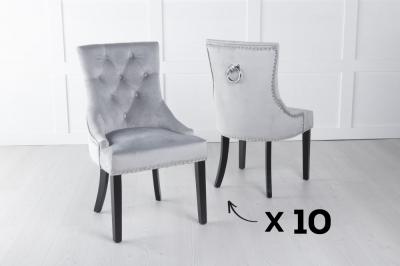 Set of 10 Light Grey Velvet Knockerback Ring Dining Chair