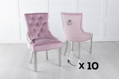 Set of 10 Pink Velvet Dining Chair With Knocker / Chrome Legs - Scoop Back