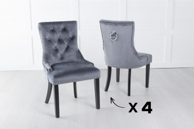 Set of 4 Grey Velvet Knockerback Ring Dining Chair