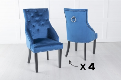 Set of 4 Large Scoop Back Dining Chair With Knocker - Blue Velvet