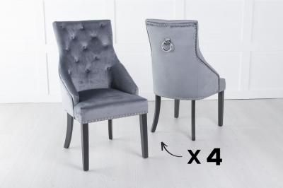 Set of 4 Large Grey Velvet Knockerback Ring Dining Chair