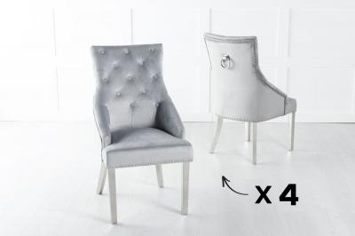 Set of 4 Large Light Grey Velvet Knockerback Ring Dining Chair with Chrome Legs
