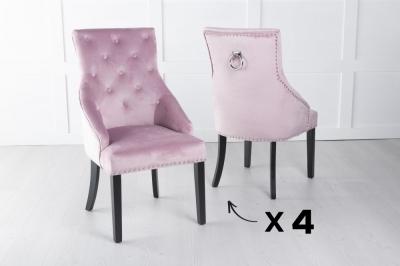 Set of 4 Large Pink Velvet Knockerback Ring Dining Chair