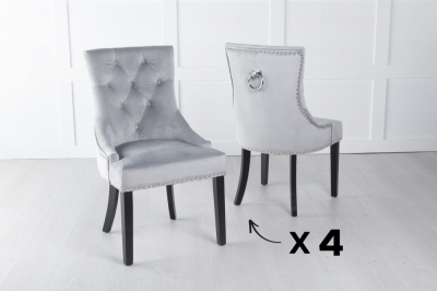 Set of 4 Light Grey Velvet Knockerback Ring Dining Chair