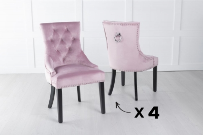 Set of 4 Pink Velvet Knockerback Ring Dining Chair