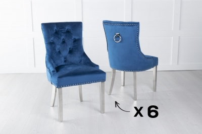 Set of 6 Blue Velvet Dining Chair With Knocker / Chrome Legs - Scoop Back
