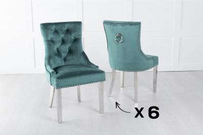 Set of 6 Green Velvet Knockerback Ring Dining Chair with Chrome Legs