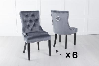 Set of 6 Grey Velvet Knockerback Ring Dining Chair