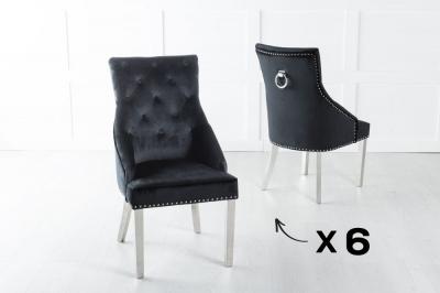 Set of 6 Large Black Velvet Knockerback Ring Dining Chair with Chrome Legs