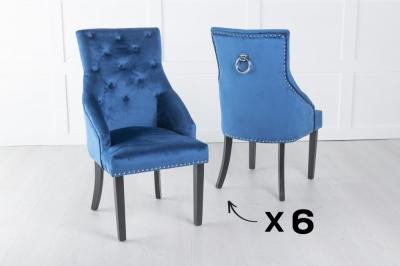 Set of 6 Large Scoop Back Dining Chair With Knocker - Blue Velvet