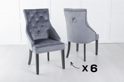 Set of 6 Large Grey Velvet Knockerback Ring Dining Chair